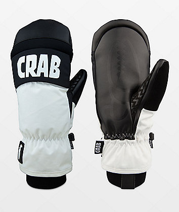 Crab Grab Punch Mitt White & Black Snowboard Mittens