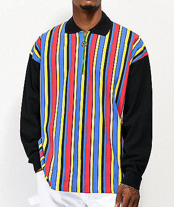 Cross Colours Tupac Black & Multicolor Stripe Long Sleeve Rugby Shirt