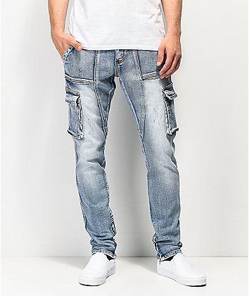 Crysp Denim Pacific Blue Cargo Denim Jeans