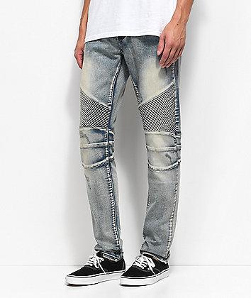 Crysp Denim Skywalker Biker Stone Wash Jeans