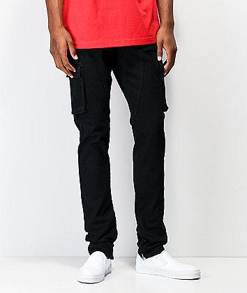 Crysp Pacific Black Cargo Denim Elastic Waist Jeans