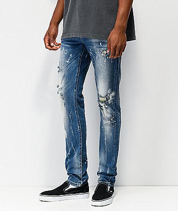 Crysp Vela Raw Hem Blue Denim Jeans