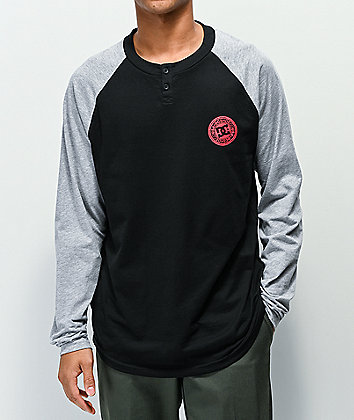 DC Basic Black & Grey Long Sleeve Henley T-Shirt
