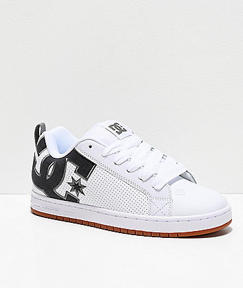 DC Court Graffik SE White, Black & Grey Skate Shoes