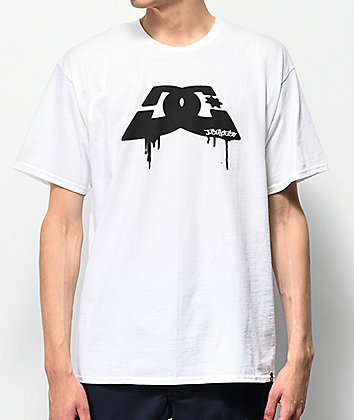 DC Spray Dip Logo White & Black T-Shirt