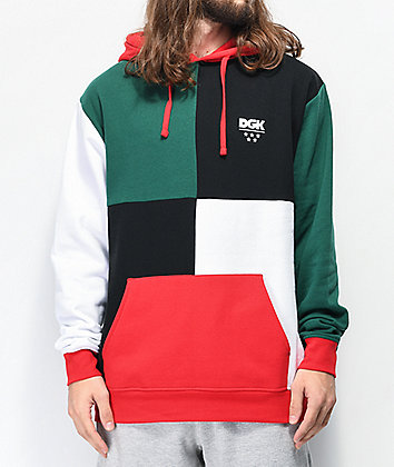 DGK Chopped Red, Green, White & Black Colorblock Hoodie