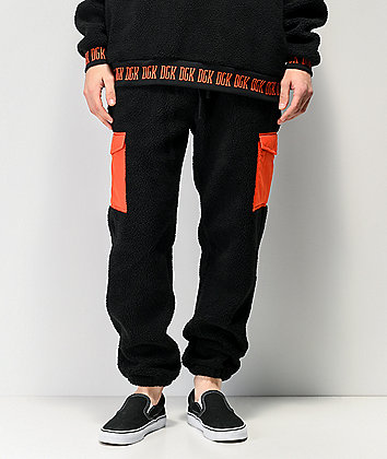 DGK Nocturnal Black & Red Sherpa Jogger Sweatpants