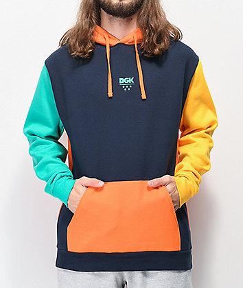 DGK Quad Navy, Orange, Yellow & Teal Colorblock Hoodie