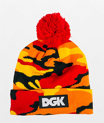 DGK Ultra Orange Camo Pom Beanie