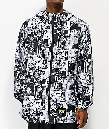 DGK x Bruce Lee Grey, Black & White Windbreaker Jacket