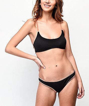 Damsel Black & Putty Flat Ribbed Cheeky Bikini Bottom