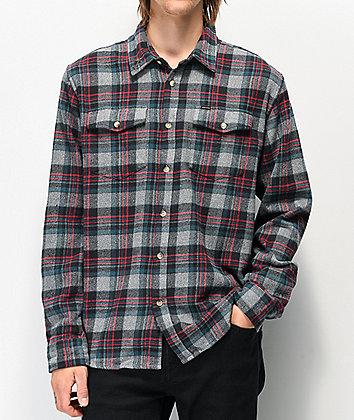 Dark Seas Awol Navy, Grey & Red Flannel Shirt