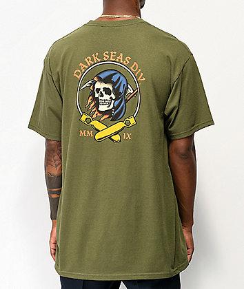 Dark Seas Justice Army Green T-Shirt