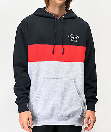 Dark Seas Monterey Navy, Red & Grey Hoodie