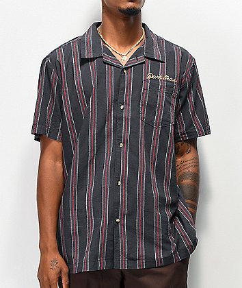 Dark Seas Striker Navy & Red Striped Woven Short Sleeve Button Up Shirt