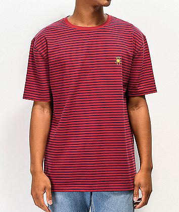 Deathworld Fairfax Burgundy & Navy Striped Knit T-Shirt