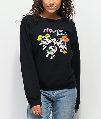 Desert Dreamer Powerpuff Girls Kanji Black Crew Neck Sweatshirt