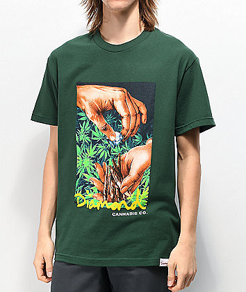 Diamond Supply Co. Cannabis Script Forest Green T-Shirt