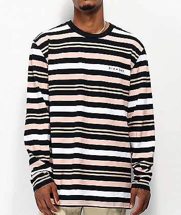 Diamond Supply Co. Marquise Black, Brown & Orange Striped Long Sleeve T-Shirt