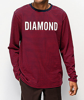 Diamond Supply Co. Navy & Red Striped Knit Long Sleeve T-Shirt