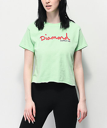 Diamond Supply Co. OG Script Mint Green Crop T-Shirt