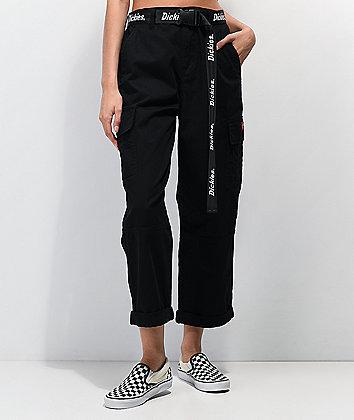 Dickies Belted Utility Black Crop Cargo Pants