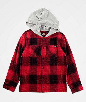 Dickies Boys Red Hooded Flannel Shirt
