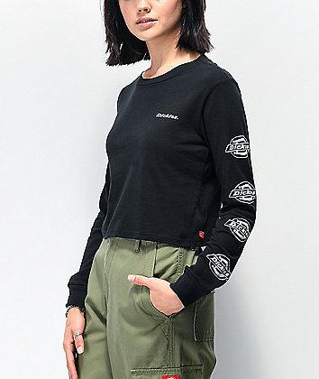 Dickies Icon Logo Black Crop Long Sleeve T-Shirt