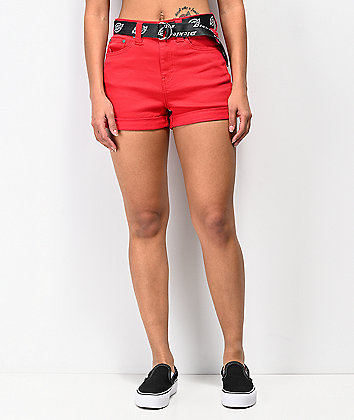 Dickies Mom Shortie Rolled Cuff Red Shorts