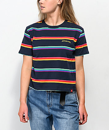 Dickies Rainbow Stripe Blue Crop T-Shirt
