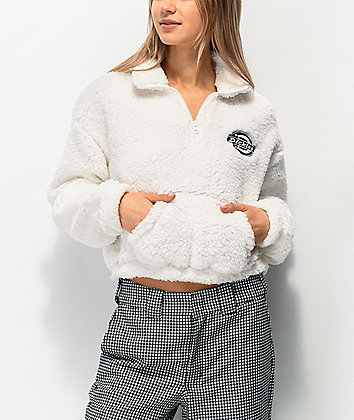Dickies Sherpa White Crop Half Zip Fleece Sweatshirt