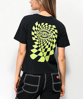 Dickies Skewed Check Black Crop T-Shirt