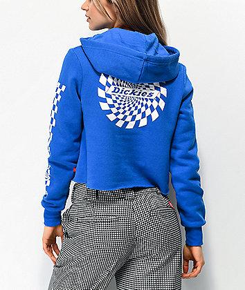 Dickies Swirl Check Blue Crop Hoodie
