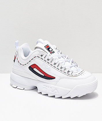 Disruptor II Logo Taping White Shoes from FILA