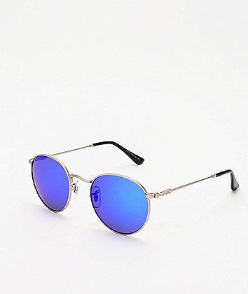 Dot Dash Velvatina Matte Silver & Blue Chrome Sunglasses