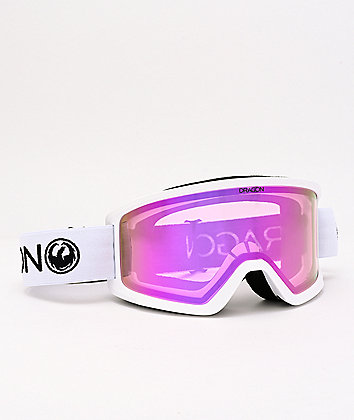 Dragon DX3 OTG White & Pink Ion Snowboard Goggles