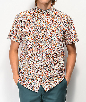 Dravus Blitzen Floral White Woven Short Sleeve Button Up Shirt