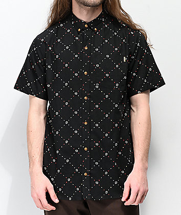 Dravus Foul Black Woven Short Sleeve Button Up Shirt