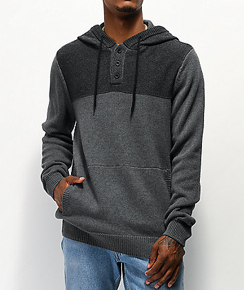 Dravus Legion Grey Henley Hooded Sweater