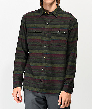 Dravus Malachi Woven Striped Green Flannel Shirt
