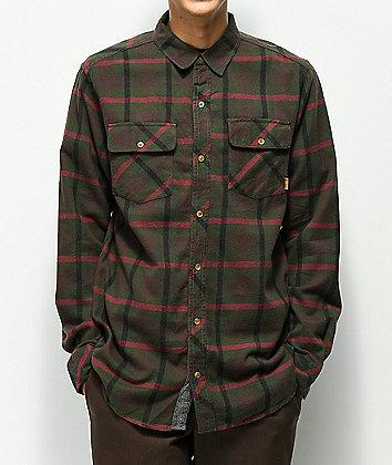Dravus Mark Brown, Green & Red Flannel Shirt