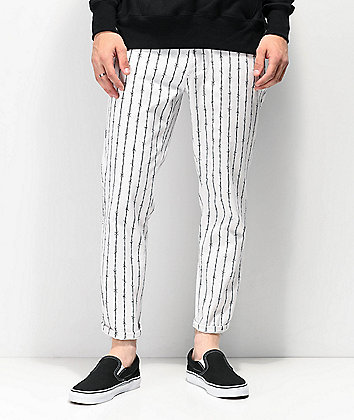 Elwood Barbed Wire Pinstripe White Crop Jeans