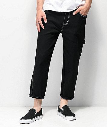 Elwood Jet Black & Contrast Stitched Crop Carpenter Jeans