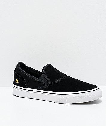 Emerica Wino G6 Black & White Slip-On Skate Shoes