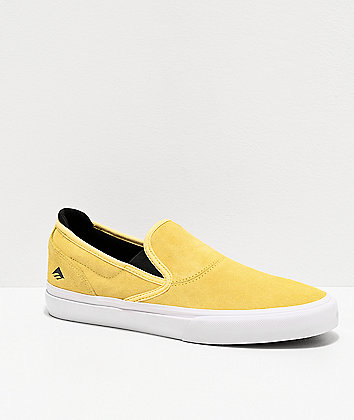 Emerica Wino G6 Yellow & White Slip-On Skate Shoes
