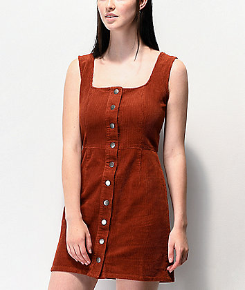 Empyre Ash Burnt Henna Corduroy Button Front Dress
