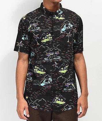 Empyre Breeze Black Woven Short Sleeve Button Up Shirt