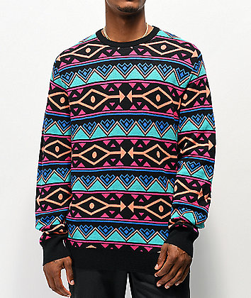 Empyre Brock Pattern Black, Blue & Pink Sweater