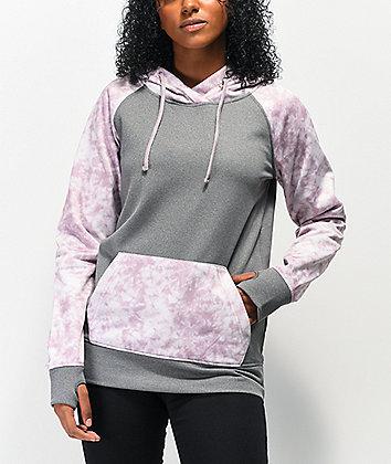 Empyre Frosty Light Grey & Purple Tie Dye Tech Fleece Hoodie