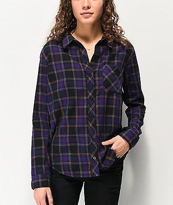 Empyre Havana Rainbow Plaid Purple & Black Flannel Shirt